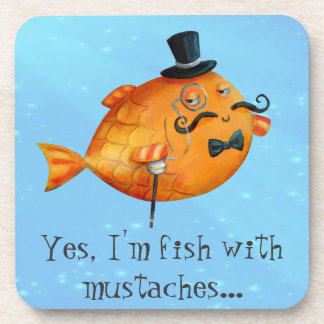 Sir Fishy Mustached Fish Beverage Coaster