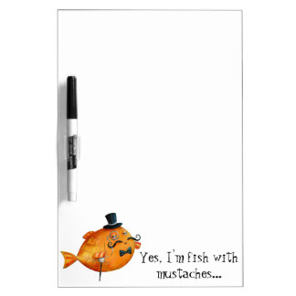Sir Fishy Mustached Fish Dry-Erase Whiteboard