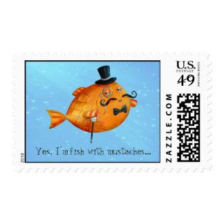 Sir Fishy Mustached Fish Estampilla
