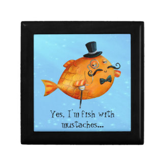 Sir Fishy Mustached Fish Jewelry Boxes