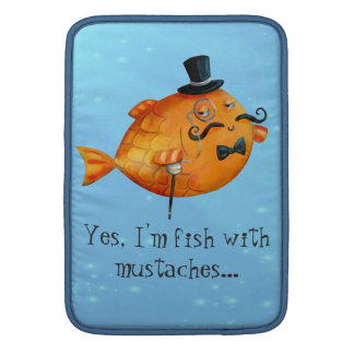 Sir Fishy Mustached Fish Sleeves For MacBook Air