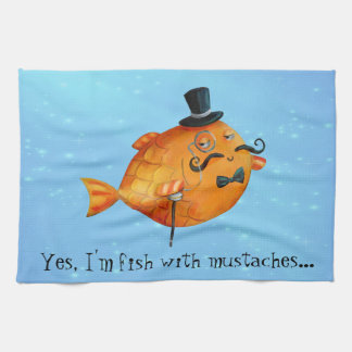 Sir Fishy Mustached Fish Kitchen Towels