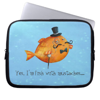 Sir Fishy Mustached Fish Computer Sleeves