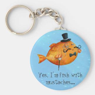 Sir Fishy Mustached Fish Llavero