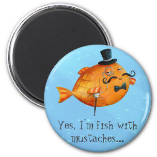Sir Fishy Mustached Fish Magnet