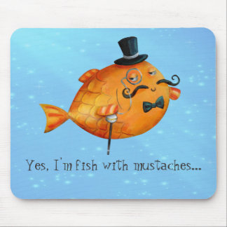 Sir Fishy Mustached Fish Mousepads