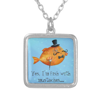 Sir Fishy Mustached Fish Necklace