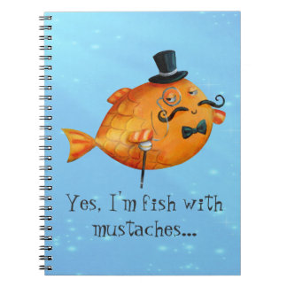Sir Fishy Mustached Fish Spiral Note Books