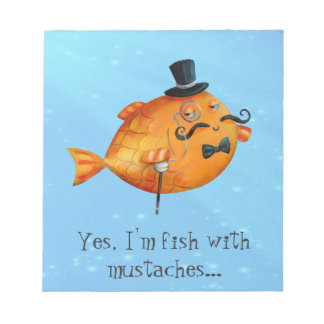 Sir Fishy Mustached Fish Note Pad