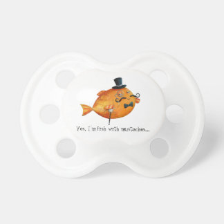 Sir Fishy Mustached Fish Baby Pacifiers