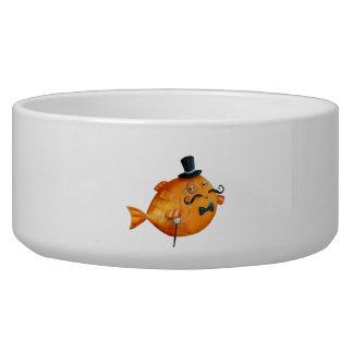 Sir Fishy Mustached Fish Dog Food Bowl