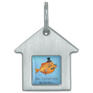Sir Fishy Mustached Fish Pet ID Tags