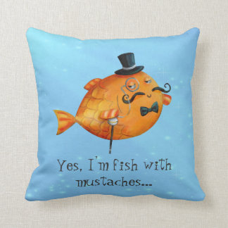 Sir Fishy Mustached Fish Throw Pillow