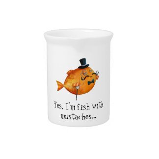 Sir Fishy Mustached Fish Beverage Pitcher