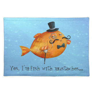 Sir Fishy Mustached Fish Place Mats