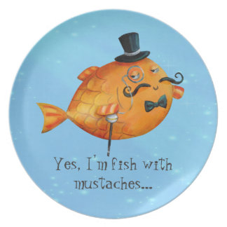 Sir Fishy Mustached Fish Party Plate