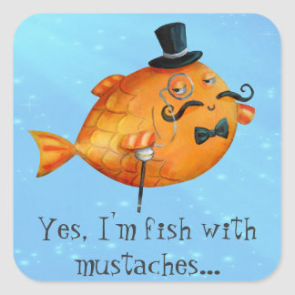 Sir Fishy Mustached Fish Square Stickers