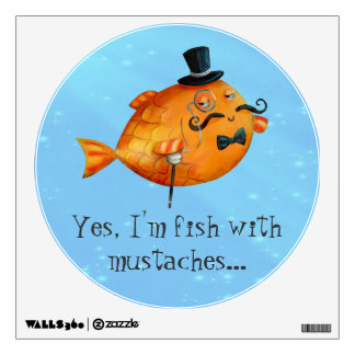 Sir Fishy Mustached Fish Room Stickers