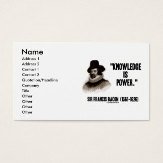 Sir Francis Bacon Knowledge Is Power Business Card