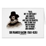 Sir Francis Bacon leyó para pesar y para considera Tarjetón