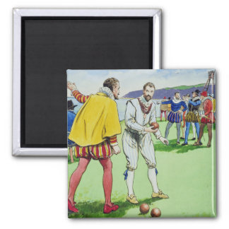 Sir Francis Drake (1540/3-96) playing bowls, from Magnet