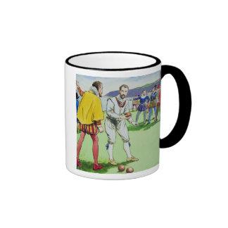 Sir Francis Drake (1540/3-96) playing bowls, from Coffee Mug
