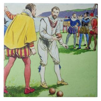 Sir Francis Drake (1540/3-96) que juega los cuenco Azulejo Cuadrado Grande