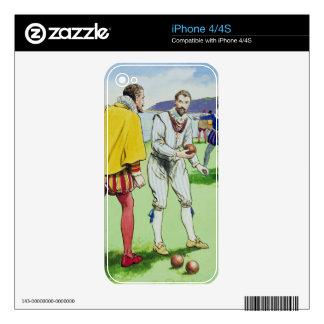 Sir Francis Drake (1540/3-96) que juega los cuenco Calcomanías Para iPhone 4S