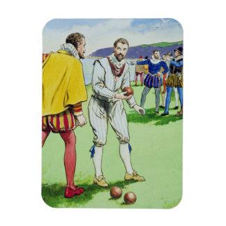 Sir Francis Drake (1540/3-96) que juega los cuenco Iman Rectangular
