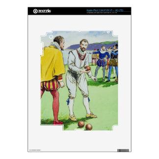 Sir Francis Drake (1540/3-96) que juega los cuenco iPad 3 Skin