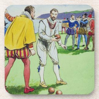 Sir Francis Drake (1540/3-96) que juega los cuenco Posavasos De Bebidas