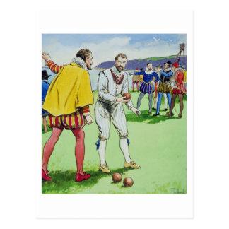 Sir Francis Drake (1540/3-96) que juega los cuenco Postales