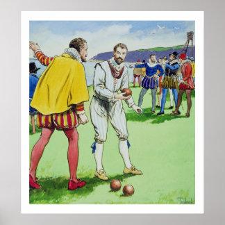 Sir Francis Drake (1540/3-96) que juega los cuenco Póster