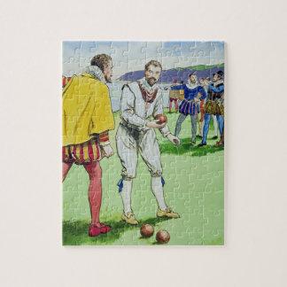 Sir Francis Drake (1540/3-96) que juega los cuenco Puzzle