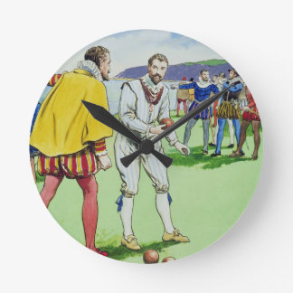 Sir Francis Drake (1540/3-96) que juega los cuenco Reloj Redondo Mediano