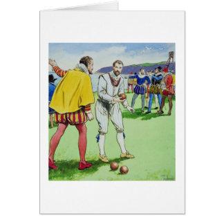 Sir Francis Drake (1540/3-96) que juega los cuenco Tarjeta De Felicitación