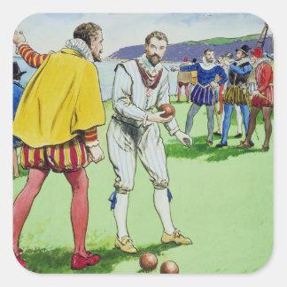Sir Francis Drake (1540/3-96) que juega los Pegatina Cuadrada