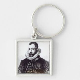 Sir Francis Walsingham Silver-Colored Square Keychain