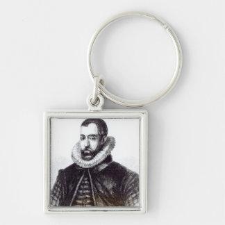 Sir Francisco Walsingham Llavero Cuadrado Plateado
