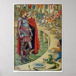 Sir Galahad ante el tribunal de rey Arturo Poster