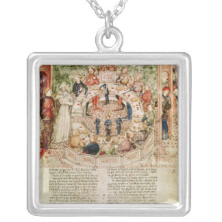 Sir Galahad is Welcomed to the Round Table Square Pendant Necklace