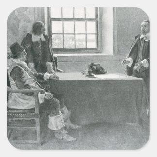 Sir Guillermo Berkeley Surrendering Pegatina Cuadradas Personalizadas