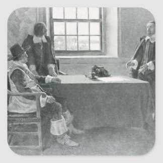 Sir Guillermo Berkeley Surrendering Pegatina Cuadrada