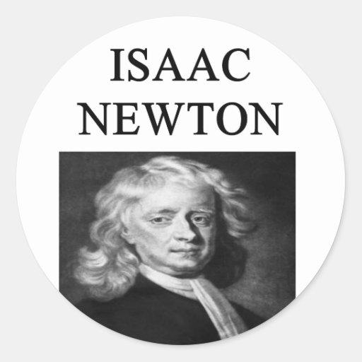 sir isaac newton classic round sticker