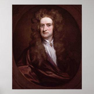 Sir Isaac Newton del retrato de sir Godfrey Knelle Póster