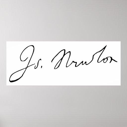 Sir Isaac Newton Signature Autograph Poster