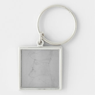 Sir John Mandeville Silver-Colored Square Keychain