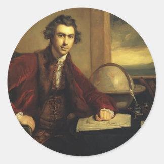 Sir José Banks de Joshua Reynolds Pegatina Redonda