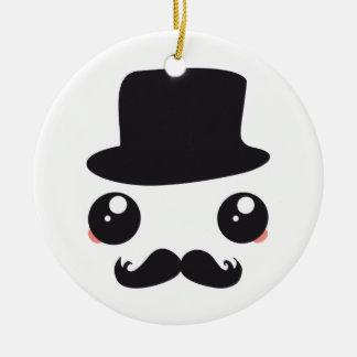 Sir Kawaii Moustache Holmes Ceramic Ornament