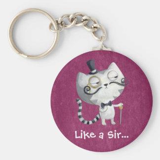 Sir Kitty Cat con los bigotes Llavero Personalizado